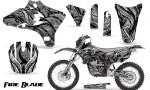 Yamaha YZ250 YZ450 03 05 WR250 WR450 05 06 CreatorX Graphics Kit Fire Blade Black Silver BB NP Rims 150x90 - Suzuki Dirt Bike Graphics