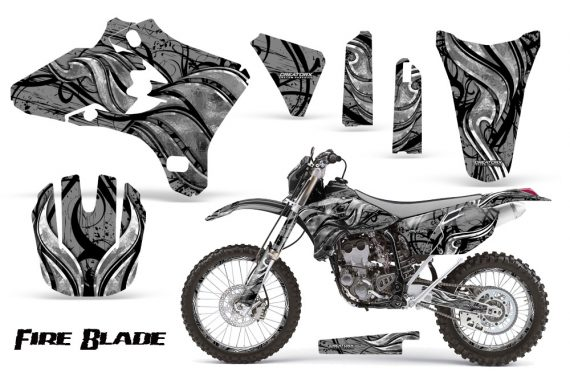 Yamaha YZ250 YZ450 03 05 WR250 WR450 05 06 CreatorX Graphics Kit Fire Blade Black Silver BB NP Rims 570x376 - Suzuki Dirt Bike Graphics
