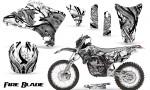Yamaha YZ250 YZ450 03 05 WR250 WR450 05 06 CreatorX Graphics Kit Fire Blade Black White BB NP Rims 150x90 - Suzuki Dirt Bike Graphics