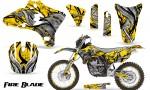 Yamaha YZ250 YZ450 03 05 WR250 WR450 05 06 CreatorX Graphics Kit Fire Blade Black Yellow BB NP Rims 150x90 - Suzuki Dirt Bike Graphics