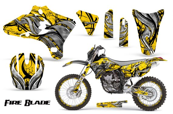 Yamaha YZ250 YZ450 03 05 WR250 WR450 05 06 CreatorX Graphics Kit Fire Blade Black Yellow BB NP Rims 570x376 - Suzuki Dirt Bike Graphics