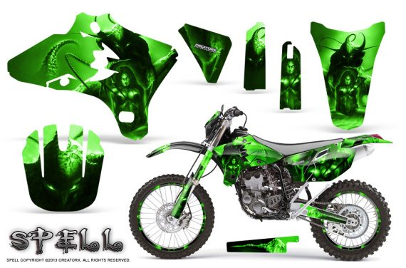 Yamaha YZ250 YZ450 03 05 WR250 WR450 05 06 CreatorX Graphics Kit Spell Green NP Rims 570x376 - Suzuki Dirt Bike Graphics