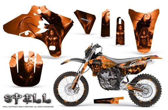 Yamaha YZ250 YZ450 03 05 WR250 WR450 05 06 CreatorX Graphics Kit Spell Orange NP Rims 570x376 - Suzuki Dirt Bike Graphics