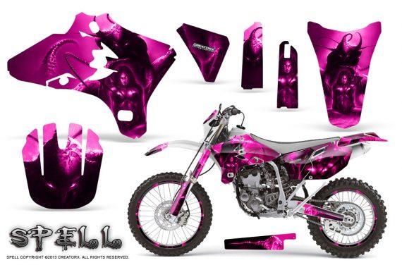 Yamaha YZ250 YZ450 03 05 WR250 WR450 05 06 CreatorX Graphics Kit Spell Pink NP Rims 570x376 - Suzuki Dirt Bike Graphics