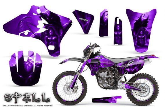 Yamaha YZ250 YZ450 03 05 WR250 WR450 05 06 CreatorX Graphics Kit Spell Purple NP Rims 570x376 - Suzuki Dirt Bike Graphics