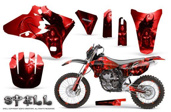 Yamaha YZ250 YZ450 03 05 WR250 WR450 05 06 CreatorX Graphics Kit Spell Red NP Rims 570x376 - Suzuki Dirt Bike Graphics