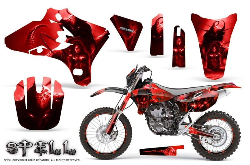 Yamaha-YZ250-YZ450-03-05-WR250-WR450-05-06-CreatorX-Graphics-Kit-Spell-Red-NP-Rims
