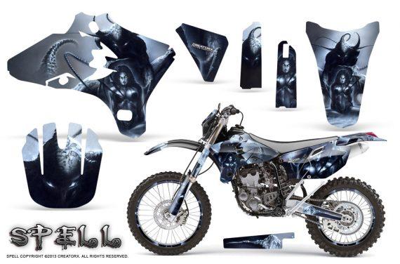 Yamaha YZ250 YZ450 03 05 WR250 WR450 05 06 CreatorX Graphics Kit Spell Silver NP Rims 570x376 - Suzuki Dirt Bike Graphics