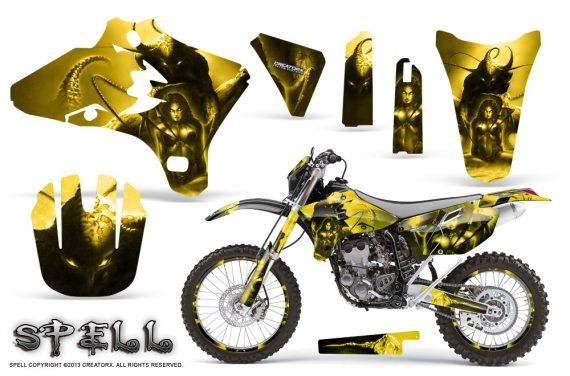 Yamaha YZ250 YZ450 03 05 WR250 WR450 05 06 CreatorX Graphics Kit Spell Yellow NP Rims 570x376 - Suzuki Dirt Bike Graphics