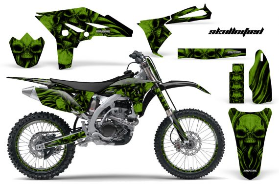 Yamaha YZ250F 2010 2012 CreatorX Graphics Kit Skullcified Green Black NP Rims 570x376 - Yamaha YZ250F 4 Stroke 2010-2013 Graphics