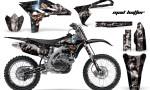 Yamaha YZ250F 2010 AMR Graphics Kit MAD HATTEER BLACK SILVERSTRIPE NP 150x90 - Yamaha YZ250F 4 Stroke 2010-2013 Graphics