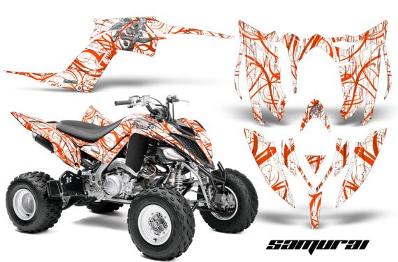 Yamaha Raptor YFM700R 2013 CreatorX Graphics Kit Samurai Orange White 570x376 - Yamaha Raptor 700 2013-2018 Graphics
