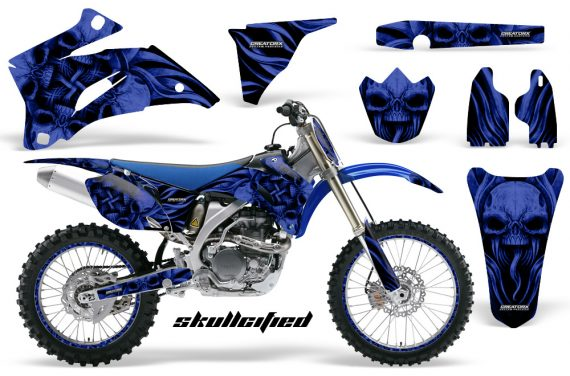 Yamaha YZ 250F 450F 06 09 CreatorX Graphics Kit Skullcified Blue Flat NP Rims Blue 570x376 - Yamaha YZ250F/YZ450F 2006-2009 4 Stroke Graphics