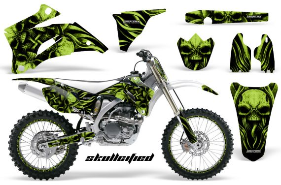 Yamaha YZ 250F 450F 06 09 CreatorX Graphics Kit Skullcified Green NP Rims White 570x376 - Yamaha YZ250F/YZ450F 2006-2009 4 Stroke Graphics