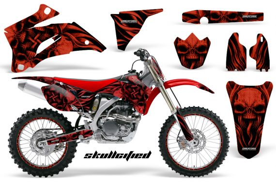 Yamaha YZ 250F 450F 06 09 CreatorX Graphics Kit Skullcified Red Flat NP Rims Red 570x376 - Yamaha YZ250F/YZ450F 2006-2009 4 Stroke Graphics