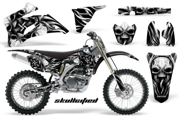 Yamaha YZ 250F 450F 06 09 CreatorX Graphics Kit Skullcified Silver NP Rims Black 570x376 - Yamaha YZ250F/YZ450F 2006-2009 4 Stroke Graphics