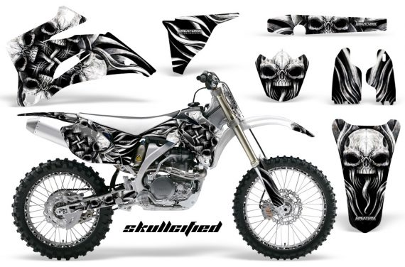 Yamaha YZ 250F 450F 06 09 CreatorX Graphics Kit Skullcified Silver NP Rims White 570x376 - Yamaha YZ250F/YZ450F 2006-2009 4 Stroke Graphics