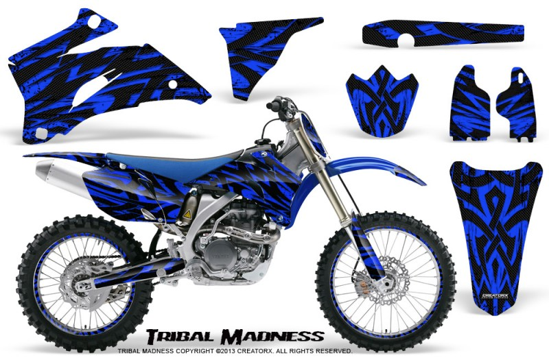 Yamaha-YZ-250F-450F-06-09-CreatorX-Graphics-Kit-Tribal-Madness-Blue-NP-Rims