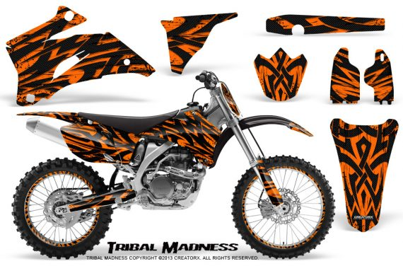Yamaha YZ 250F 450F 06 09 CreatorX Graphics Kit Tribal Madness Orange NP Rims 570x376 - Yamaha YZ250F/YZ450F 2006-2009 4 Stroke Graphics
