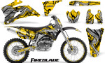 Yamaha YZ 250F 450F 06 09 Graphics Kit Fireblade Yellow NP Rims 150x90 - Yamaha YZ250F/YZ450F 2006-2009 4 Stroke Graphics
