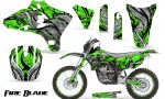 Yamaha YZ250 YZ450 03 05 WR250 WR450 05 06 CreatorX Graphics Kit Fire Blade Black Green BB NP Rims 150x90 - Yamaha YZ250F/YZ450F 4 Stroke 2003-2005 Graphics