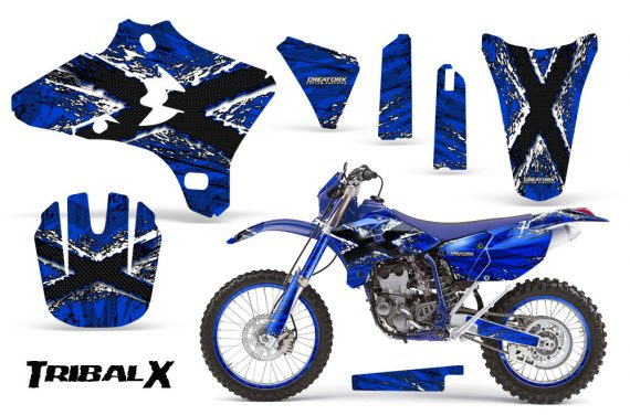 Yamaha YZ250 YZ450 03 05 WR250 WR450 05 06 CreatorX Graphics Kit TribalX White Blue NP Rims 570x376 - Yamaha YZ250F/YZ450F 4 Stroke 2003-2005 Graphics