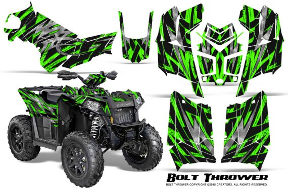 Polaris-Scrambler-850-XP-2013-2014-CreatorX-Graphics-Kit-Bolt-Thrower-Green