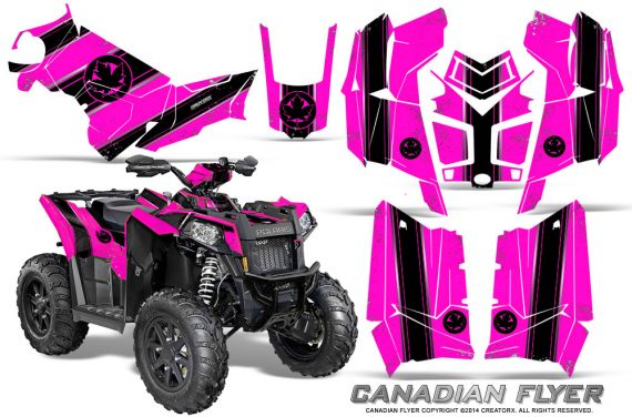 Polaris Scrambler 850 XP 2013 2014 CreatorX Graphics Kit Canadian Flyer Black Pink 570x376 - Polaris Scrambler 850 1000 2013-2016 Graphics