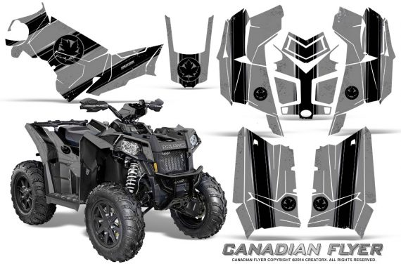 Polaris Scrambler 850 XP 2013 2014 CreatorX Graphics Kit Canadian Flyer Black Silver 570x376 - Polaris Scrambler 850 1000 2013-2016 Graphics