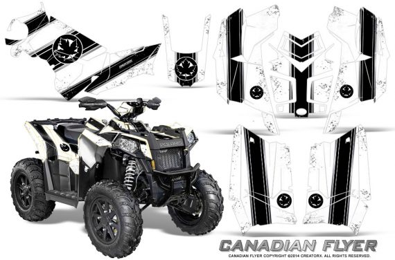 Polaris Scrambler 850 XP 2013 2014 CreatorX Graphics Kit Canadian Flyer Black White 570x376 - Polaris Scrambler 850 1000 2013-2016 Graphics