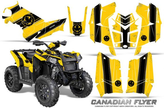 Polaris Scrambler 850 XP 2013 2014 CreatorX Graphics Kit Canadian Flyer Black Yellow 570x376 - Polaris Scrambler 850 1000 2013-2016 Graphics