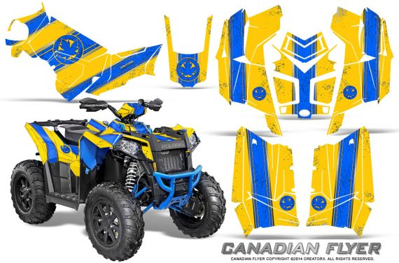 Polaris Scrambler 850 XP 2013 2014 CreatorX Graphics Kit Canadian Flyer Blue Yellow 570x376 - Polaris Scrambler 850 1000 2013-2016 Graphics