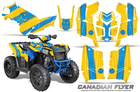 Polaris Scrambler 850 XP 2013 2014 CreatorX Graphics Kit Canadian Flyer BlueIce Yellow 570x376 - Polaris Scrambler 850 1000 2013-2016 Graphics