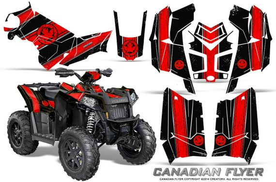 Polaris Scrambler 850 XP 2013 2014 CreatorX Graphics Kit Canadian Flyer Red Black 570x376 - Polaris Scrambler 850 1000 2013-2016 Graphics