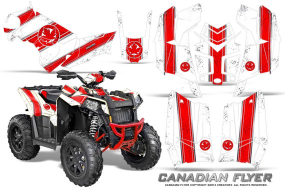 Polaris Scrambler 850 XP 2013 2014 CreatorX Graphics Kit Canadian Flyer Red White 570x376 - Polaris Scrambler 850 1000 2013-2016 Graphics
