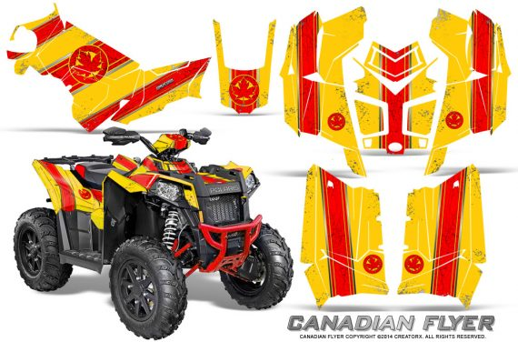 Polaris Scrambler 850 XP 2013 2014 CreatorX Graphics Kit Canadian Flyer Red Yellow 570x376 - Polaris Scrambler 850 1000 2013-2016 Graphics