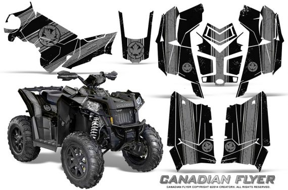 Polaris Scrambler 850 XP 2013 2014 CreatorX Graphics Kit Canadian Flyer Silver Black 570x376 - Polaris Scrambler 850 1000 2013-2016 Graphics
