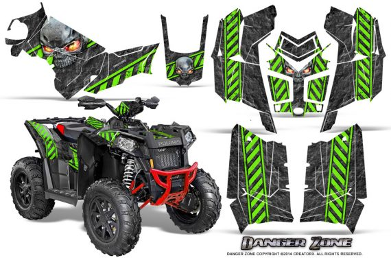Polaris Scrambler 850 XP 2013 2014 CreatorX Graphics Kit Danger Zone Green 570x376 - Polaris Scrambler 850 1000 2013-2016 Graphics