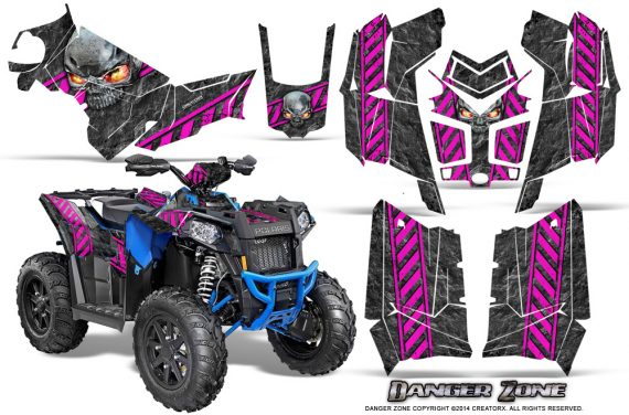 Polaris Scrambler 850 XP 2013 2014 CreatorX Graphics Kit Danger Zone Pink 570x376 - Polaris Scrambler 850 1000 2013-2016 Graphics