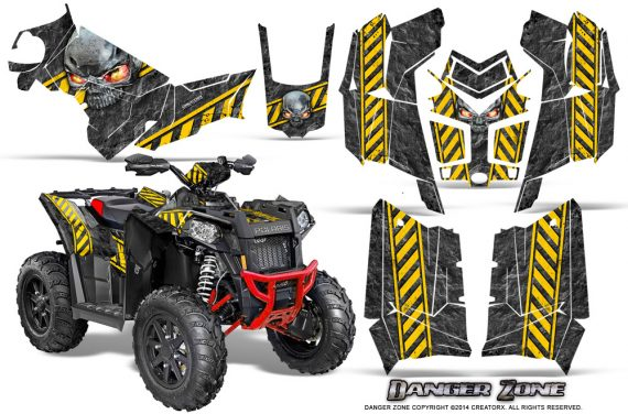 Polaris Scrambler 850 XP 2013 2014 CreatorX Graphics Kit Danger Zone Yellow 570x376 - Polaris Scrambler 850 1000 2013-2016 Graphics