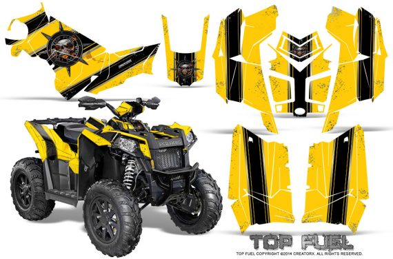 Polaris Scrambler 850 XP 2013 2014 CreatorX Graphics Kit Top Fuel Black Yellow 570x376 - Polaris Scrambler 850 1000 2013-2016 Graphics