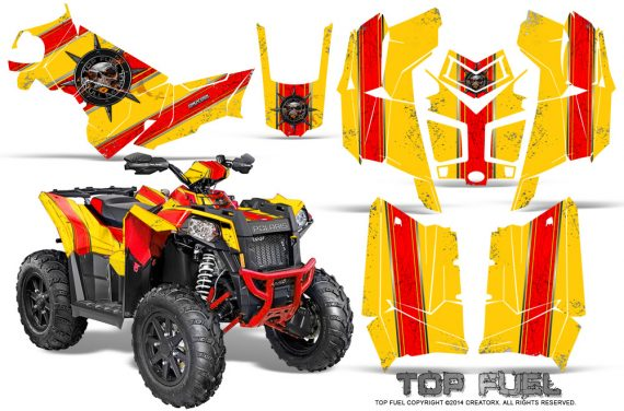 Polaris Scrambler 850 XP 2013 2014 CreatorX Graphics Kit Top Fuel Red Yellow 570x376 - Polaris Scrambler 850 1000 2013-2016 Graphics