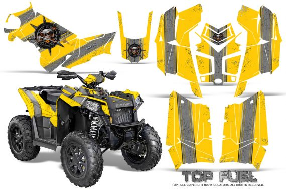 Polaris Scrambler 850 XP 2013 2014 CreatorX Graphics Kit Top Fuel Silver Yellow 570x376 - Polaris Scrambler 850 1000 2013-2016 Graphics