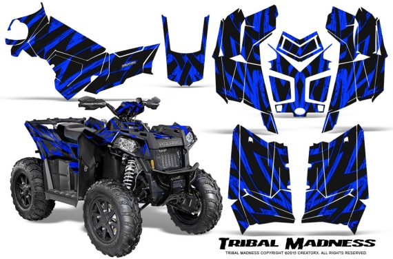Polaris Scrambler 850 XP 2013 2014 CreatorX Graphics Kit Tribal Madness Blue 570x376 - Polaris Scrambler 850 1000 2013-2016 Graphics