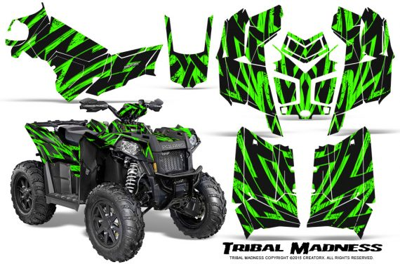 Polaris Scrambler 850 XP 2013 2014 CreatorX Graphics Kit Tribal Madness Green 570x376 - Polaris Scrambler 850 1000 2013-2016 Graphics
