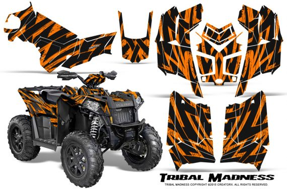 Polaris Scrambler 850 XP 2013 2014 CreatorX Graphics Kit Tribal Madness Orange 570x376 - Polaris Scrambler 850 1000 2013-2016 Graphics