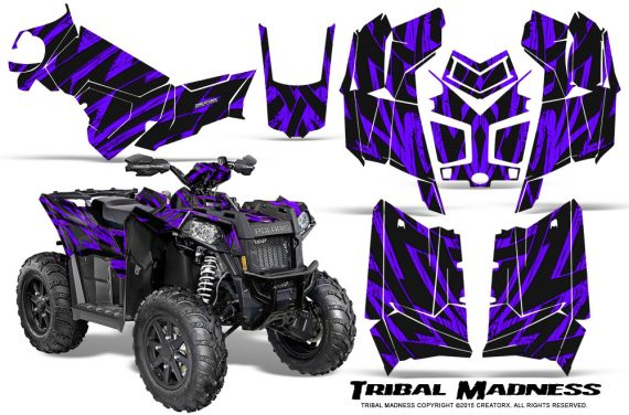 Polaris Scrambler 850 XP 2013 2014 CreatorX Graphics Kit Tribal Madness Purple 570x376 - Polaris Scrambler 850 1000 2013-2016 Graphics