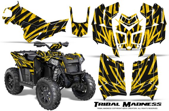 Polaris Scrambler 850 XP 2013 2014 CreatorX Graphics Kit Tribal Madness Yellow 570x376 - Polaris Scrambler 850 1000 2013-2016 Graphics