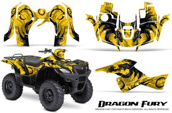 Suzuki King Quad 500AXI CreatorX Graphics Kit Dragon Fury Black Yellow 570x376 - Suzuki King Quad 500 AXi 2013-2015 Graphics