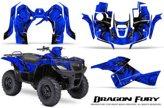 Suzuki King Quad 500AXI CreatorX Graphics Kit Dragon Fury Blue Blue 570x376 - Suzuki King Quad 500 AXi 2013-2015 Graphics